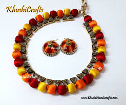 yellow necklace set images Buy silk thread jewellery in red orange and yellow now online in jpg