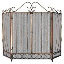 Fireplace Screen Doors Home Depot by Uniflame Olde World Iron Single Panel Fireplace Screen With Doors