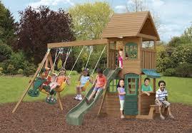 Wooden Backyard Playsets Big Backyard Windale Wooden Cedar Swing Set Walmart Com