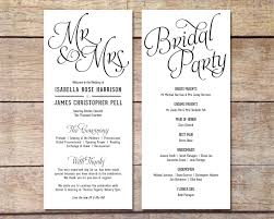 wedding party program black and white wedding program template jcmanagement co