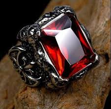 red stones rings images Punk gothic real stainless steel ruby ring men 39 s big red stones jpg