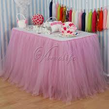 100cm x 80cm light pink tulle tutu table skirts tableware for