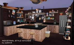 industrial style kitchen at pqsims4 sims 4 updates