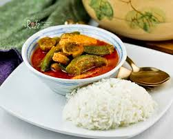 rice cuisine fish curry with okra and eggplant roti n rice