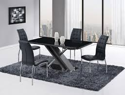 Steel Dining Chairs D654dt Dining Set 5pc By Global W Black Glass Top U0026 D716 Chairs