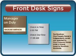 check in desk sign front desk signs wyndham hotel
