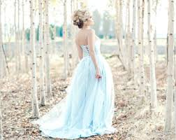 Blue Wedding Dress Floral Wedding Dress Watercolor Romantic Bonaparte Silk