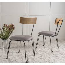 Metal Dining Chairs Orval Metal Dining Chair With Fabric Cushion Set Of 2 By