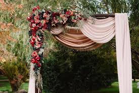 arch decoration autumnal wedding arch decoration of roses apples grape and
