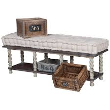 vintage farmhouse storage bench with baskets
