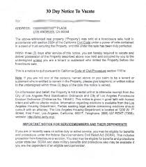 printable sample 30 day notice to vacate template form real