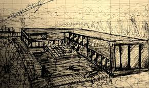 freehand drawings sketching architecture house buildings arch
