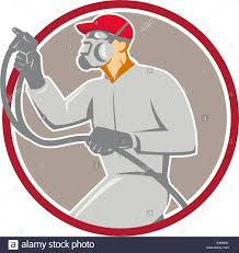 Car Paint Spray Guns Illustration Of Car Painter Wearing Mask Holding Paint Spray Gun