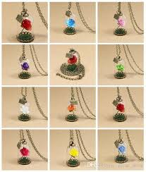 rose glass necklace images Wholesale beauty and beast necklace rose glass jar necklace little jpg