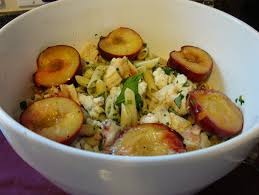 cold pasta salad with roasted chicken plums blue cheese and