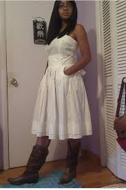 white dresses brown boots