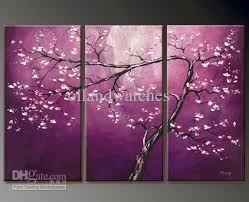 2018 modern abstract canvas art oil painting peach blossom purple
