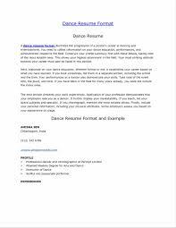 Dancer Resume Template Example Of Dance Resume Sample Resume123