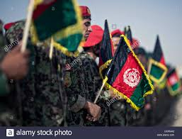 Army Ranger Flag Afghan National Army Stand In Formation With Flags During The