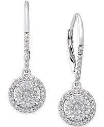 drop diamond earrings diamond cluster drop earrings 1 3 ct t w in sterling silver