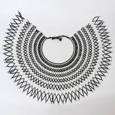 black necklace white images Traditional african zulu wedding necklace beaded oversized jpg