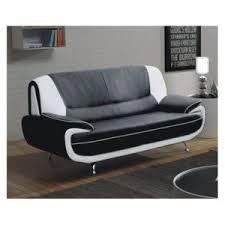 canap faux cuir meublesline canapé meros fixe moderne design simili cuir noir et