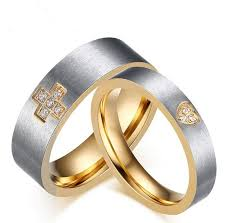 crystal rings wholesale images 2018 18k gold plated crystal inlaid cross and heart couple rings jpg