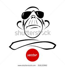 set sketches monkey different images isolated stock vector