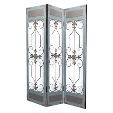 Room Dividers At Home Depot - wooden metal 6 ft blue 3 panel room divider sg 261 the home depot