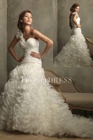 white one shoulder taffeta shirring ruffled ball gown wedding dress
