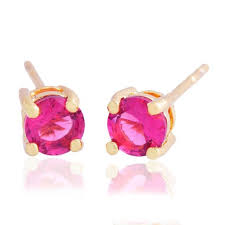 gold second studs womens jewellery 14k gold plated ruby stud earrings fashion