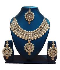 stone necklace set designs images Fj style designer necklace set with maang tikka in crystal stone jpg