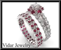halo rings red images Red ruby and diamond 14k halo wedding ring and engagement ring set jpg