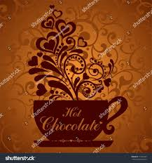 chocolate cup cup floral design stock illustration 713492209