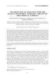 the detection of deception with the reality monitoring approach a