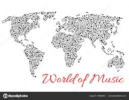 world map of muisc and musical notes u2014 stock vector seamartini