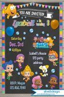 bubble guppies customized photo invitations
