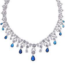 sapphire jewelry necklace images Sapphire jewelry set zircon jewelry necklaces teardrop earrings jpg