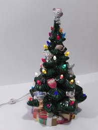 ceramic tree mice mouse ornaments topper presents lighted