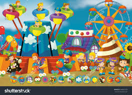 cartoon scene kids playing funfair matching stock illustration