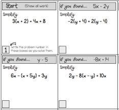 simplifying algebraic expressions scavenger hunt worksheets tpt