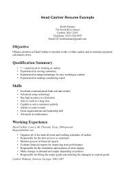 Resume Example Examples Of Resumes Resume Cashier Example Sample For 81