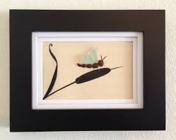 Brown And Teal Home Decor Sea Glass Art Pebble Art Framed And Matted Art Home Decor