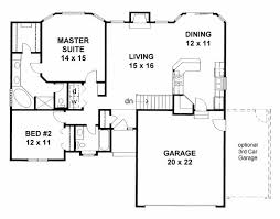 2 Bedroom Floor Plans With Basement House Plan 62610 Traditional Plan With 1273 Sq Ft 2 Bedrooms