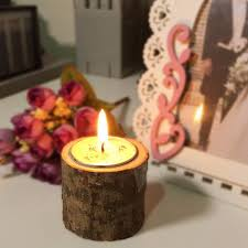 wooden rustic candle holder wedding home decor candlesticks lover