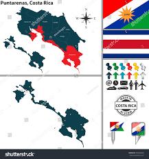 Costarican Flag Vector Map Province Puntarenas Flag Location Stock Vector