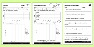 favourite fruit tally and pictogram activity sheets tally