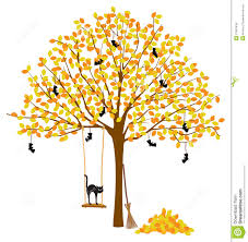 free halloween decorations tree with autumn leaves and halloween decorations royalty free
