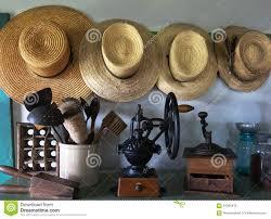 amish country farm hats pantry stock photo image 64366470