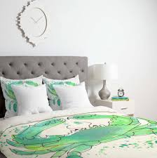 Green Double Duvet Cover Seafoam Green Crab Duvet Cover Laura Trevey Home And Bedding